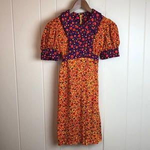 Vintage 70s Girls Orange Yellow Prairie Boho Dress